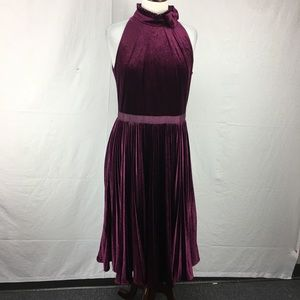 Ted Baker Purple Cornela Pleated Velvet Midi Dress